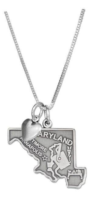 Sterling Silver 18 inch Maryland State Pendant Necklace with Heart Charm