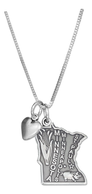Sterling Silver 18 inch Minnesota State Pendant Necklace with Heart Charm
