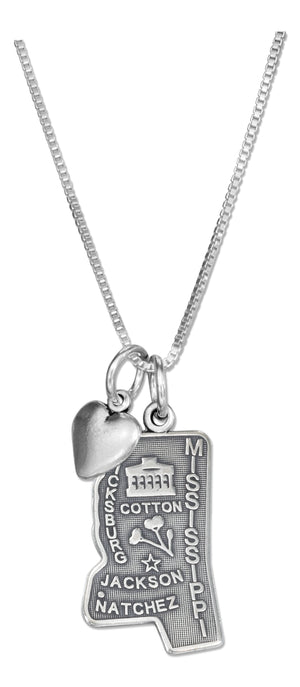 Sterling Silver 18 inch Mississippi State Pendant Necklace with Heart Charm