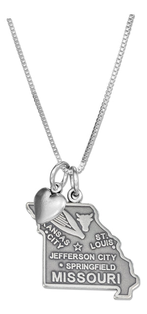 Sterling Silver 18 inch Missouri State Pendant Necklace with Heart Charm