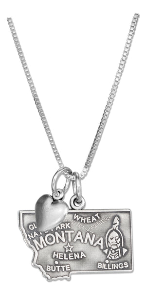 Sterling Silver 18 inch Montana State Pendant Necklace with Heart Charm