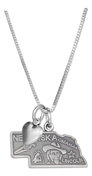 Sterling Silver 18 inch Nebraska State Pendant Necklace with Heart Charm