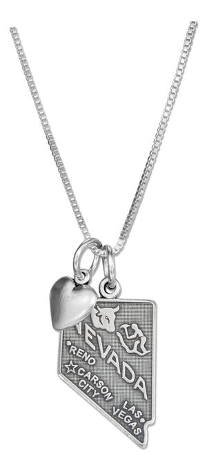 Sterling Silver 18 inch Nevada State Pendant Necklace with Heart Charm