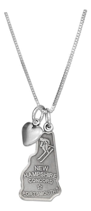 Sterling Silver 18 inch New Hampshire State Pendant Necklace with Heart Charm