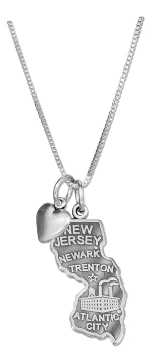 Sterling Silver 18 inch New Jersey State Pendant Necklace with Heart Charm
