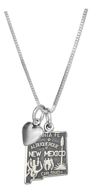 Sterling Silver 18 inch New Mexico State Pendant Necklace with Heart Charm