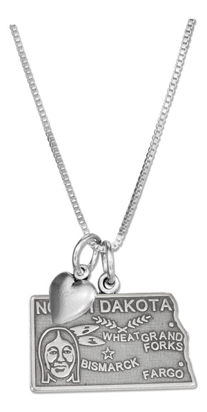 Sterling Silver 18 inch North Dakota State Pendant Necklace with Heart Charm