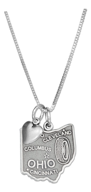 Sterling Silver 18 inch Ohio State Pendant Necklace with Heart Charm