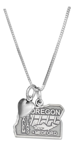 Sterling Silver 18 inch Oregon State Pendant Necklace with Heart Charm