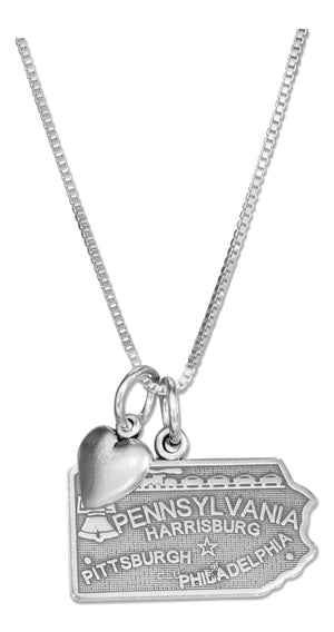 Sterling Silver 18 inch Pennsylvania State Pendant Necklace with Heart Charm