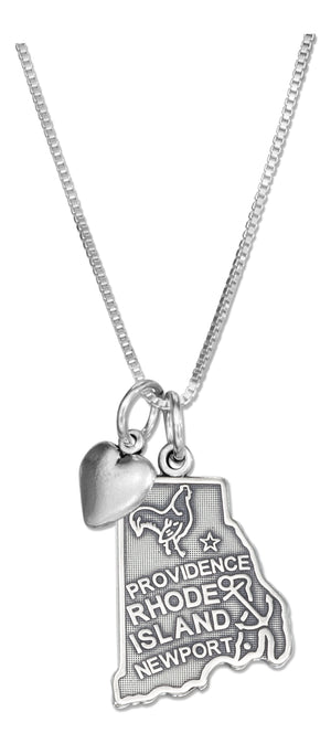 Sterling Silver 18 inch Rhode Island State Pendant Necklace with Heart Charm