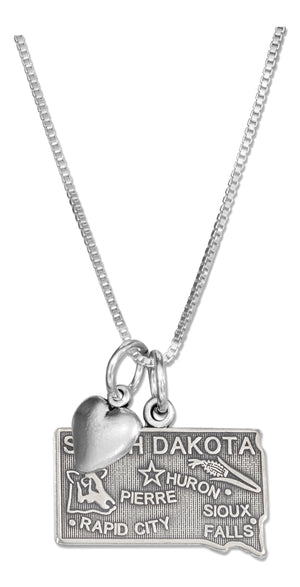 Sterling Silver 18 inch South Dakota State Pendant Necklace with Heart Charm