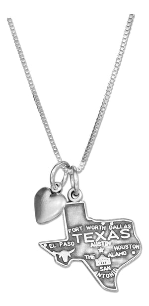 Sterling Silver 18 inch Texas State Pendant Necklace with Heart Charm