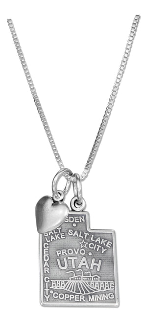 Sterling Silver 18 inch Utah State Pendant Necklace with Heart Charm
