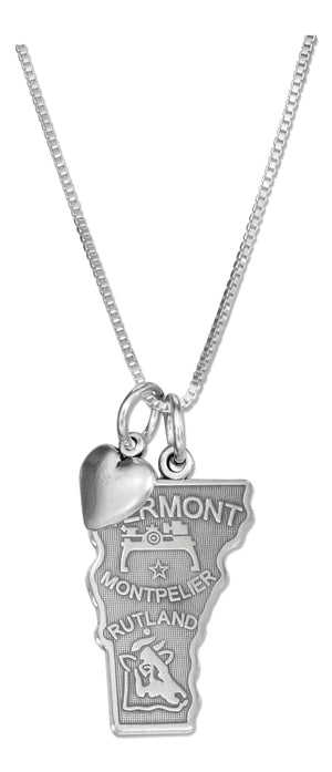 Sterling Silver 18 inch Vermont State Pendant Necklace with Heart Charm