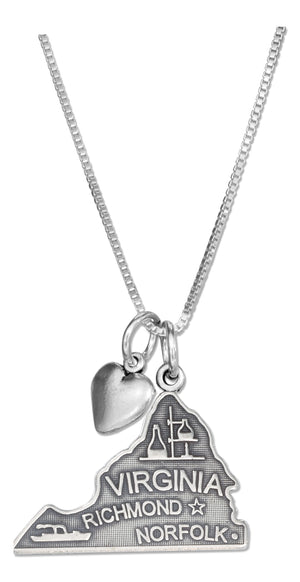 Sterling Silver 18 inch Virginia State Pendant Necklace with Heart Charm
