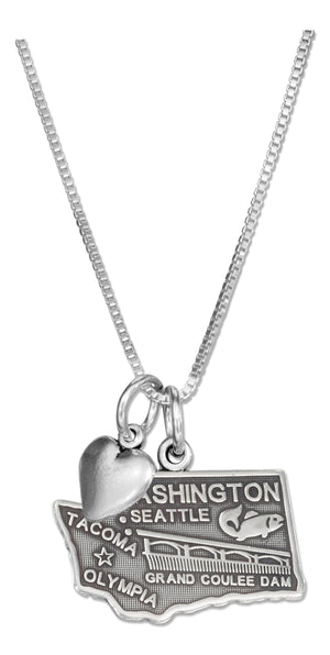 Sterling Silver 18 inch Washington State Pendant Necklace with Heart Charm