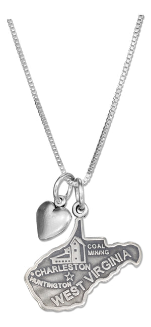 Sterling Silver 18 inch West Virginia State Pendant Necklace with Heart Charm