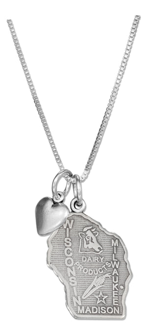 Sterling Silver 18 inch Wisconsin State Pendant Necklace with Heart Charm