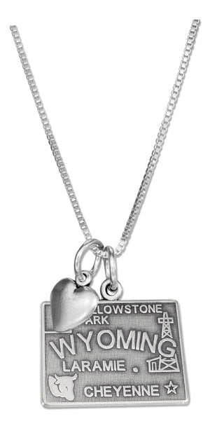 Sterling Silver 18 inch Wyoming State Pendant Necklace with Heart Charm