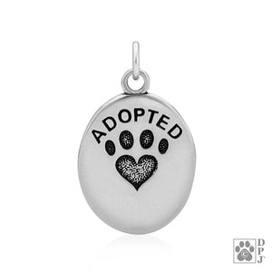Sterling Silver Oval Adopted Pendant with Paw Print Heart