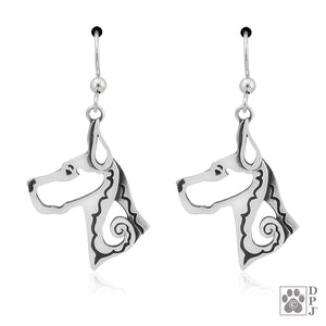 Sterling Silver Cropped Ear Great Dane Earrings on Dangling French Wires