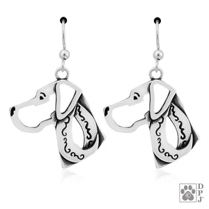 Sterling Silver Natural Ear Great Dane Earrings on Dangle French Wires
