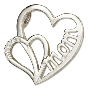 Sterling Silver Double Heart Mom Slider Pendant with Cubic Zirconias