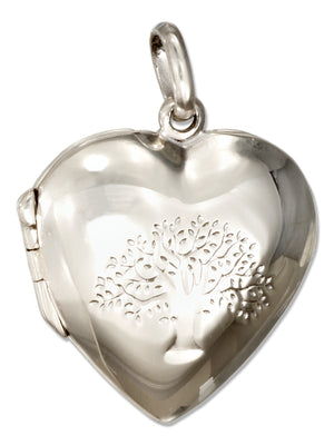 Sterling Silver Etched High Polish Tree Of Life Heart Locket