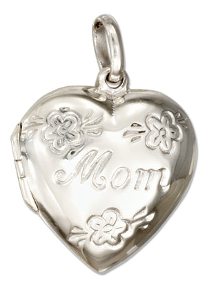 "Sterling Silver High Polish ""Mom"" Heart Locket with Flowers"