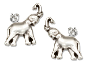 Sterling Silver Mini Post Elephant Earrings with Trunk Extended