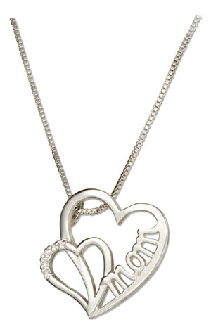 "Sterling Silver 18 inch Double Heart ""Mom"" Slider Pendant Necklace with Cubic Zirconias"