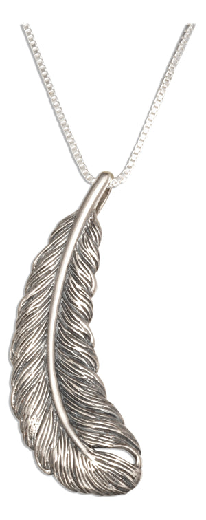 Sterling Silver 18 inch Feather Pendant Necklace