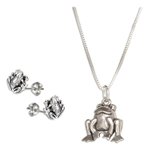 Sterling Silver 18 inch Frog Pendant Necklace with Frog Earrings Set