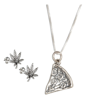 Sterling Silver 18 inch Slice Of Pizza Pendant Necklace with Pot Leaf Earrings Set