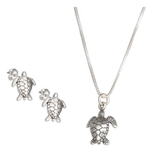 Sterling Silver 18 inch Turtle Pendant Necklace with Turtle Earrings Set