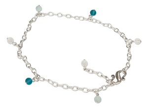 Sterling Silver Dangling Ocean Color Beads Sea Glass Anklet