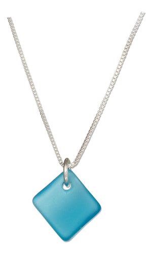 Sterling Silver 16 inch to 18 inch Adj Turquoise Bright Aqua Blue Square Sea Glass Necklace