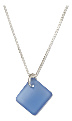 Sterling Silver 16 inch to 18 inch Adjustable Cornflower Blue Square Sea Glass Necklace