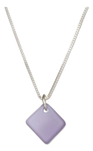 Sterling Silver 16 inch to 18 inch Adjustable Lavender Blue Square Sea Glass Necklace