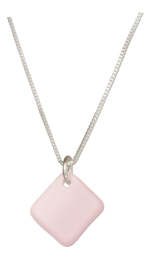 Sterling Silver 16 inch to 18 inch Adjustable Blushing Pink Square Sea Glass Necklace
