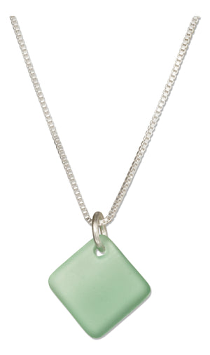 Sterling Silver 16 inch to 18 inch Adjustable Seafoam Green Square Sea Glass Necklace