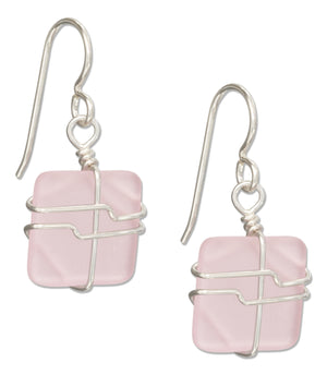 Sterling Silver Wire Wrapped Blushing Pink Square Sea Glass Earrings