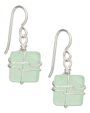 Sterling Silver Wire Wrapped Seafoam Green Square Sea Glass Earrings