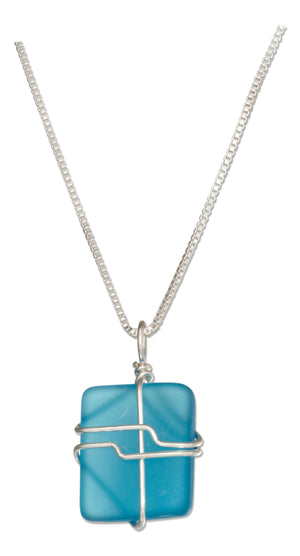 Sterling Silver 16 inch to 18 inch Adj Wrapped Turquoise Bright Aqua Blue Sea Glass Necklace