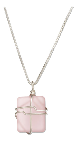 Sterling Silver 16 inch to 18 inch Adjustable Wrapped Blushing Pink Sea Glass Necklace
