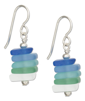 Sterling Silver Stacked Sea Mist Palette Blue Green Frost Sea Glass Earrings