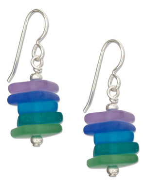Sterling Silver Stacked Beach Palette Blue Purple Sea Glass Earrings