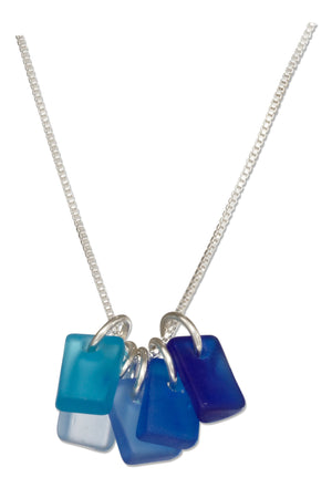 Sterling Silver 16 inch to 18 inch Adjustable Shades Of Blue Rectangle Sea Glass Necklace