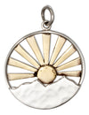Sterling Silver Double Layer Mountain Charm with Bronze Sun and Rays